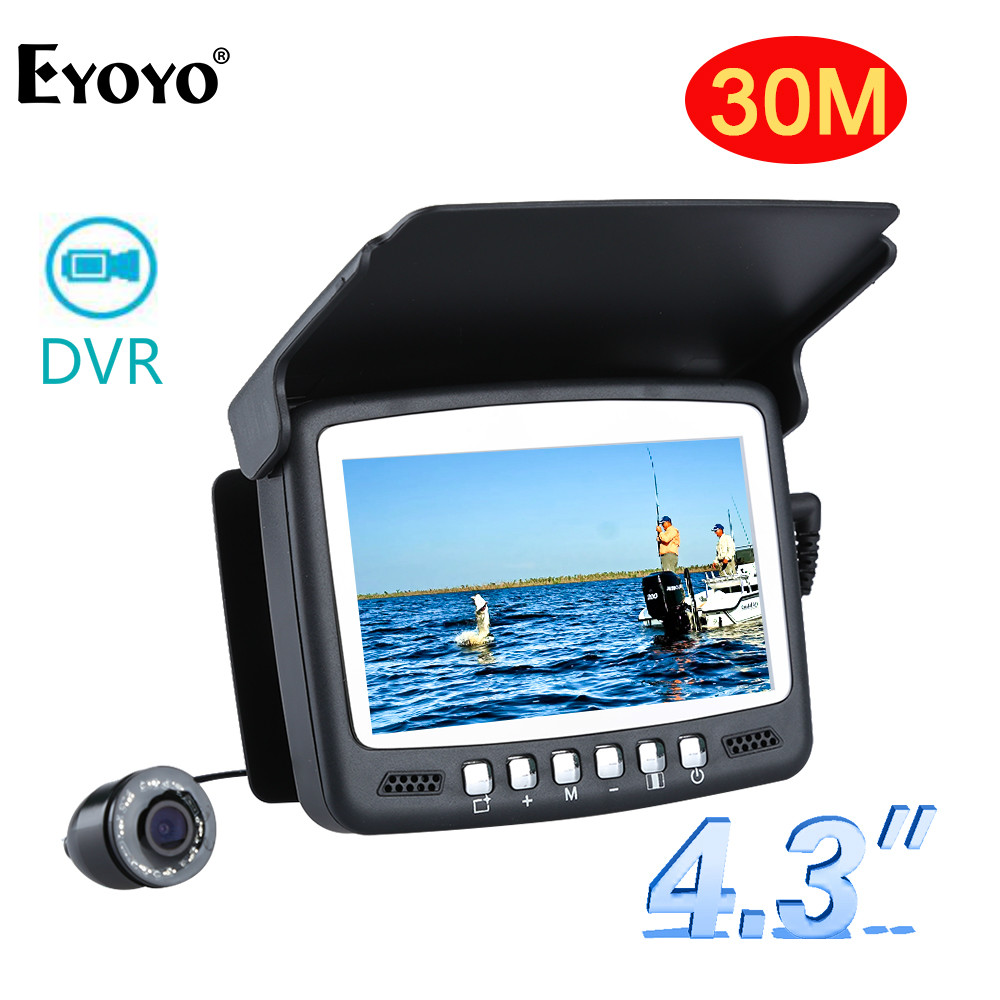 Eyoyo Original Underwater Fishing Camera 30M 1000TVL 4 3 Video Recorder DVR Fish Finder with 8Pcs