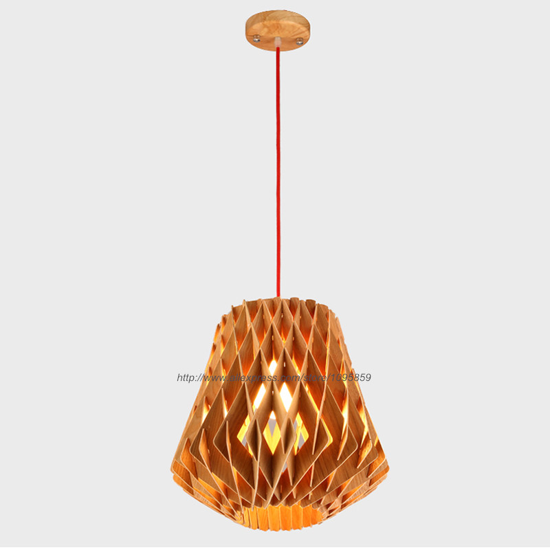 Modern Nordic Style Diamond Wooden Pendant Light Lamp Wood Color Ceiling Fixtures Dining Room Hanging Lighting