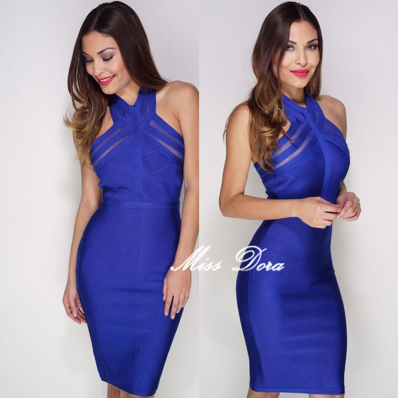 c42cd10a4f4c 2018 New summer sexy Bodycon Dress black Blue Red High Neck Mesh halter  Lady Celebrity Backless Dress Women Party Bandage Dress-in Dresses from  Women's ...