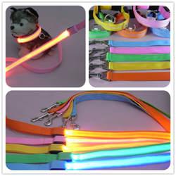 2,5 см Сетки Животное линий тяги нейлон светодиодный Glow поводки 120 см длинные собака поводки тягового каната Радуга цвет