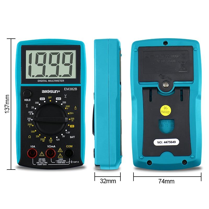 all-sun EM382B LCD digitális multiméter DC / AC voltmérő - Mérőműszerek - Fénykép 5