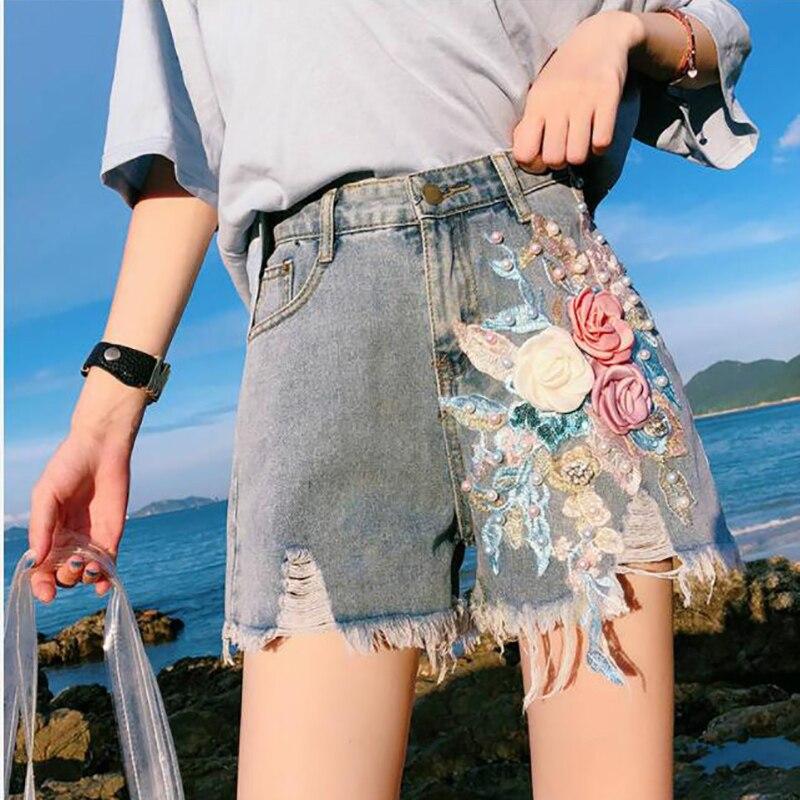 High Quality Denim Shorts Women High Waist Wide Leg Tassel 3D Flower Shorts Rhinestone Flower Jeans Hot Shorts Plus Size 4XL 5XL