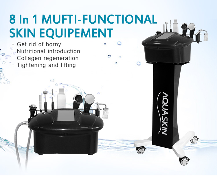 Newest 7in1 Aquaskin Black Comprehensive Facial Cleaning Ultrasound Machine For Beauty Salon