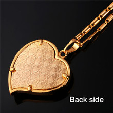 Classic Arabic Muslim Jewelry Wholesale Gold Color Crystal Hollow Heart Shape Allah Pendants Necklaces For Women P558