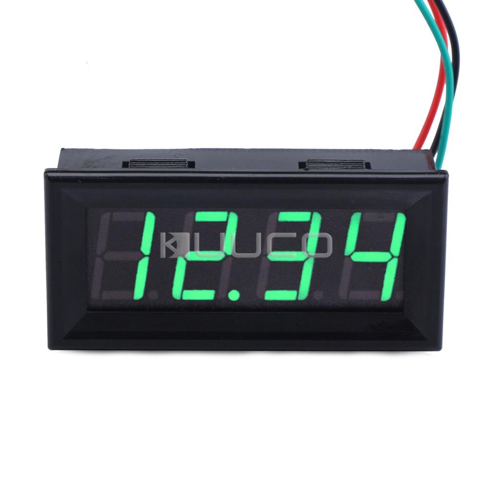 5 unids/lote voltímetro Digital CC 0 ~ 33V pantalla Led verde medidor Digital/Monitor/probador para Motor/motocicleta/coche/batería, etc.