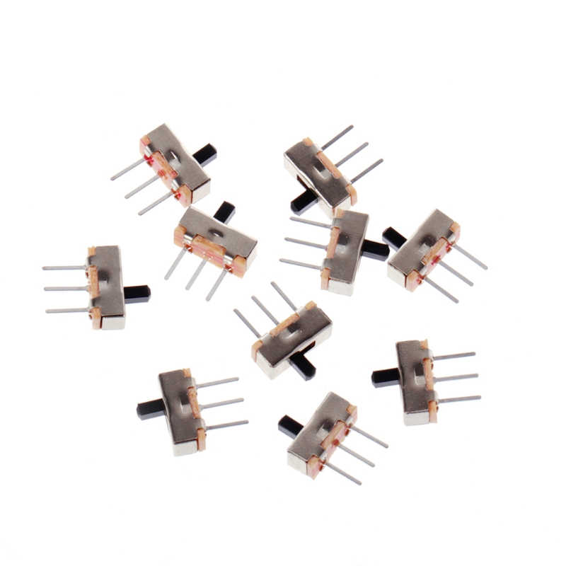 10Pcs/Set 2 Position On/Off SPDT 1P2T 3 Pin PCB Panel Mini Vertical Slide Switch SS12D00G3 new 50pcs lot miniature slide switch spdt 3 pin pcb 2 position 1p2t side knob handle high 3mm sk12d07vg3