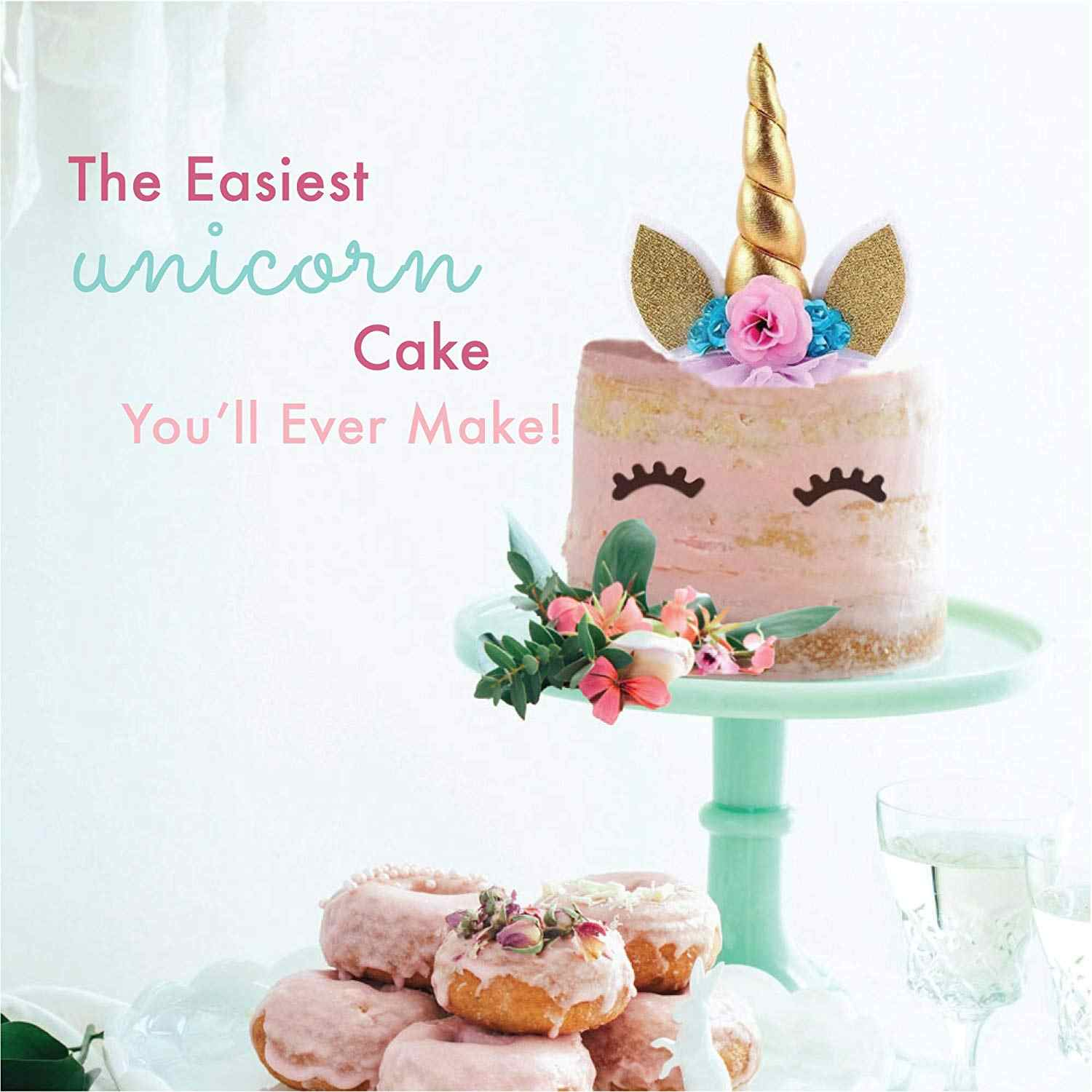 Reusable Handmade Unicorn Birthday Cake Toppers Set Horn Ears Flowers Party Decoration For Wedding