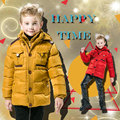 Зима Молния Хлопка Пальто 2016 Новый 4-10 Лет Дети С Капюшоном Куртки Детские Дети Твердые Парки для Мальчиков