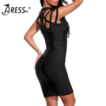INDRESSME Sexy Hollow Out Mini Summer Women Bandage Dress Fashion O Neck Solid Bodycon Sleeveless Lady Dress Vestidos 2019 New