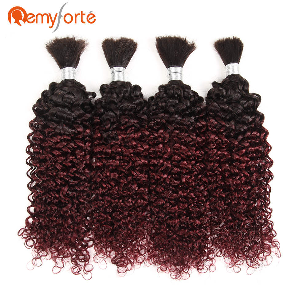 Remy Forte Wholesale Lots Curly Bulk Human Hair For Braiding No Weft Ombre 99J Brazilian 4 Bundles Human Hair Crochet Braids