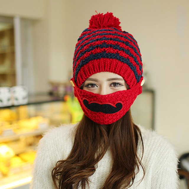 2019 Knitted Hat Women Brand High Quality Winter Women Ball Ski Warmer Hat  PomPoms Hats knitted With Mask Mouth Parttern Beanies ec2e22c8772