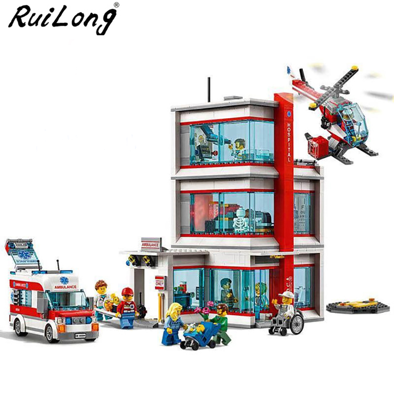 New City Serices Hospital Set Compatible With Legoing City Series Building Blocks Bricks Kits Kids Educational Toys Gift 60204