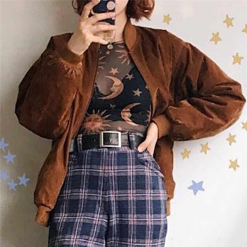 3f7ebaeef7b5 Mujeres Top 2019 primavera moda manga larga Sexy malla estrella Luna sol  imprimir blusas señoras cuello redondo perspectiva Tops Streetwear #40