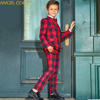 British Style Presided Piano Performance Suits Children's Clothing Jacket Red Plaid Thread Blazers For Boys Suits For Weddings