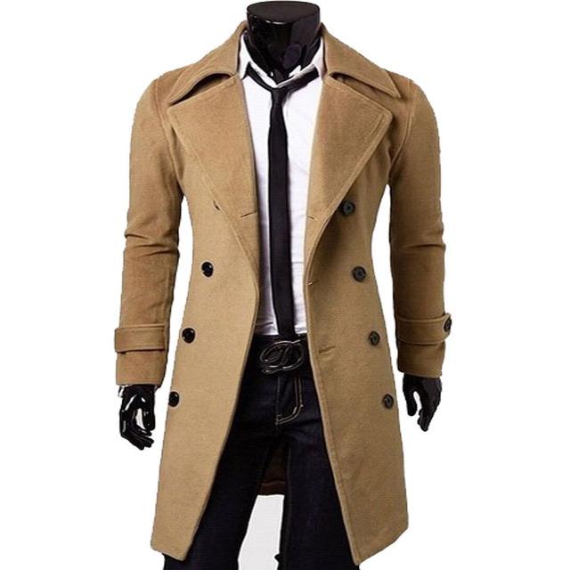 Venda quente! Novos homens de moda longa seção trench coat de lã men clássico de alta qualidade blusão upscale mc6