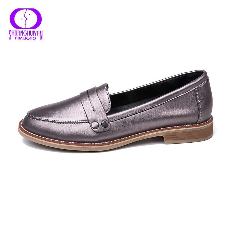 AIMEIGAO Neue Frühling Herbst Casual Frauen Wohnungen Schuhe Slip On Mokassin Schuhe Niedrigen Absätzen Komfortable Schuhe Für Frauen