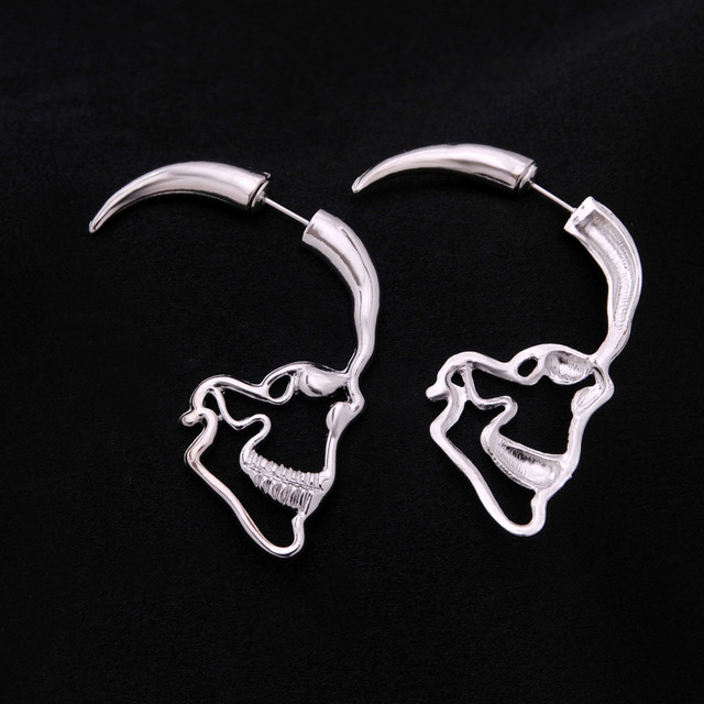 1977e1c69 Crazy Feng New Steampunk Silver Color Skull Stud Earrings Vintage Retro  Hollow Skeleton Piercing Ear Gothic Punk Jewelry