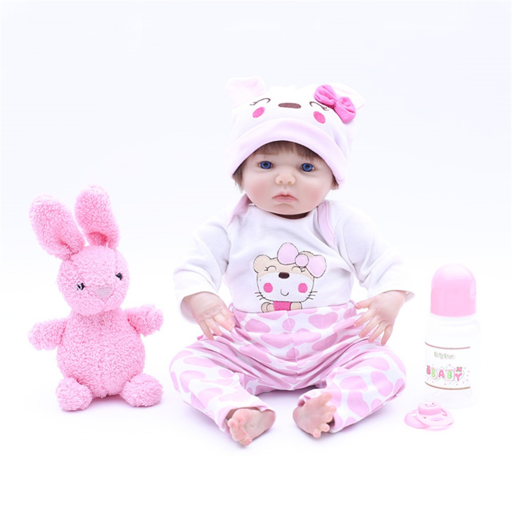 SanyDoll 16 inch 43 cm Silicone baby reborn dolls,  doll reborn Lovely pink suit doll holiday giftsSanyDoll 16 inch 43 cm Silicone baby reborn dolls,  doll reborn Lovely pink suit doll holiday gifts
