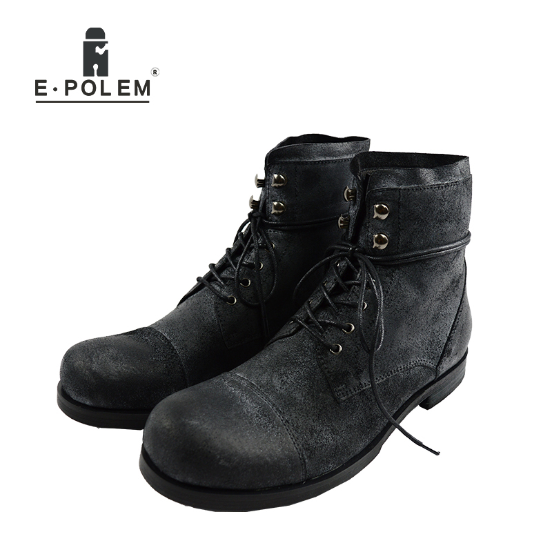 Men Fashion High Top Military Desert font b Boots b font Male Cow Leather Shoe Ankle