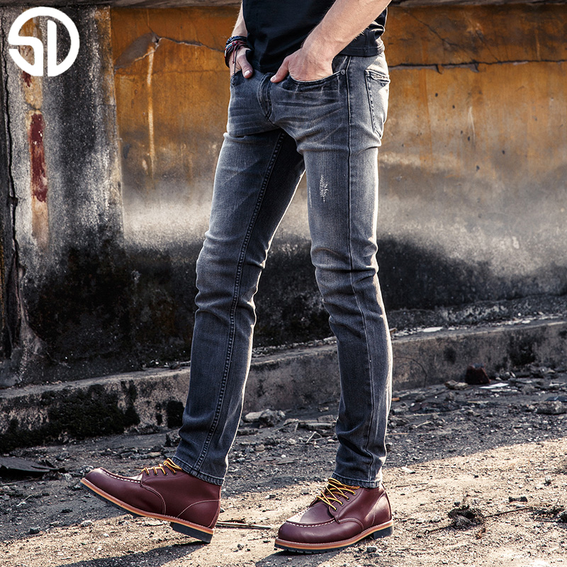 2017 High Quality Jeans Mens Slim Cotton Jeans Distressed Biker Washed Gray Jeans Men Straight Denim Jeans Trousers Pencil Pants white mens skinny jeans 2017 fashion mens jeans slim straight high quality stretch skinny ripped biker jeans for men jw108