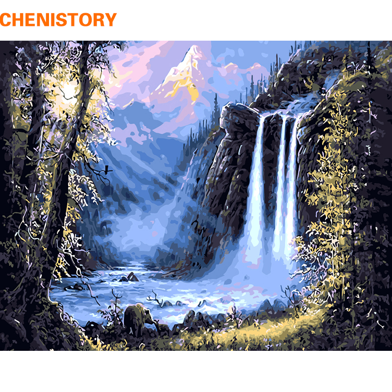 CHENISTORY Bergwaterval Landschap DIY Schilderen Nummers Kits Tekening Modern Wall Art Picture For Home Decor 40x50cm Arts