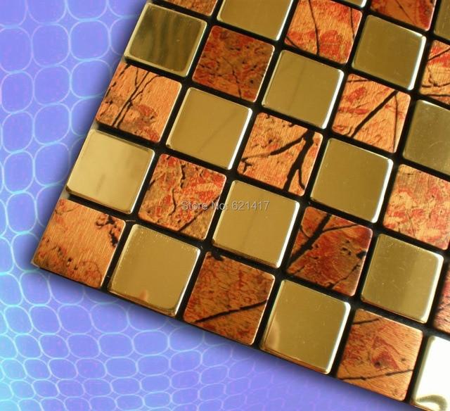 Aluminum Composite Panel Stainless Steel Mirror Self Adhesive Mosaic Tiles  For Kitchen Backsplash Decoration Tiles HMSM1014