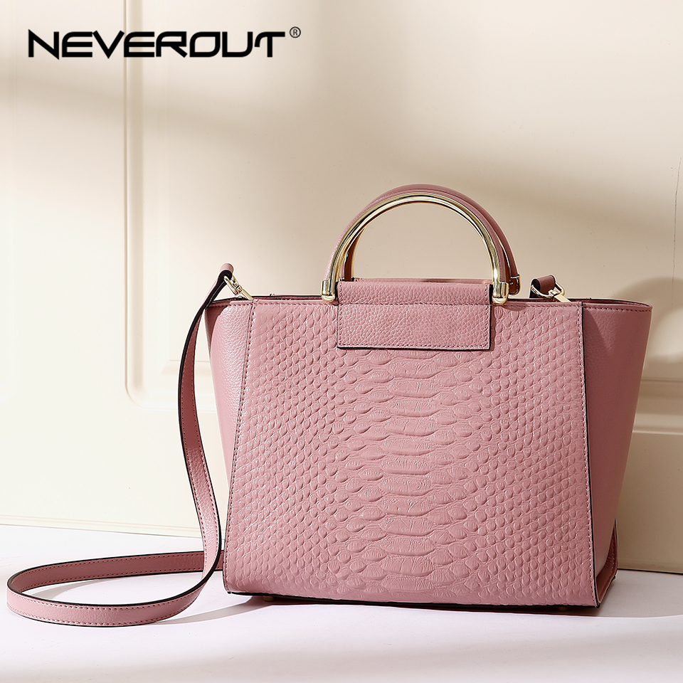 NEVEROUT Genuine Leather Handbag High Quality Brand Name Bag Women Bags Ladies Solid Handbags Tote Fashion 2 Color Shoulder SacNEVEROUT Genuine Leather Handbag High Quality Brand Name Bag Women Bags Ladies Solid Handbags Tote Fashion 2 Color Shoulder Sac