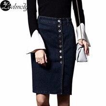 94c667b5cf Nueva llegada para mujer Denim Faldas mujeres más tamaño lápiz jupe  abotonado 6xl sexy rodilla longitud falda 2232