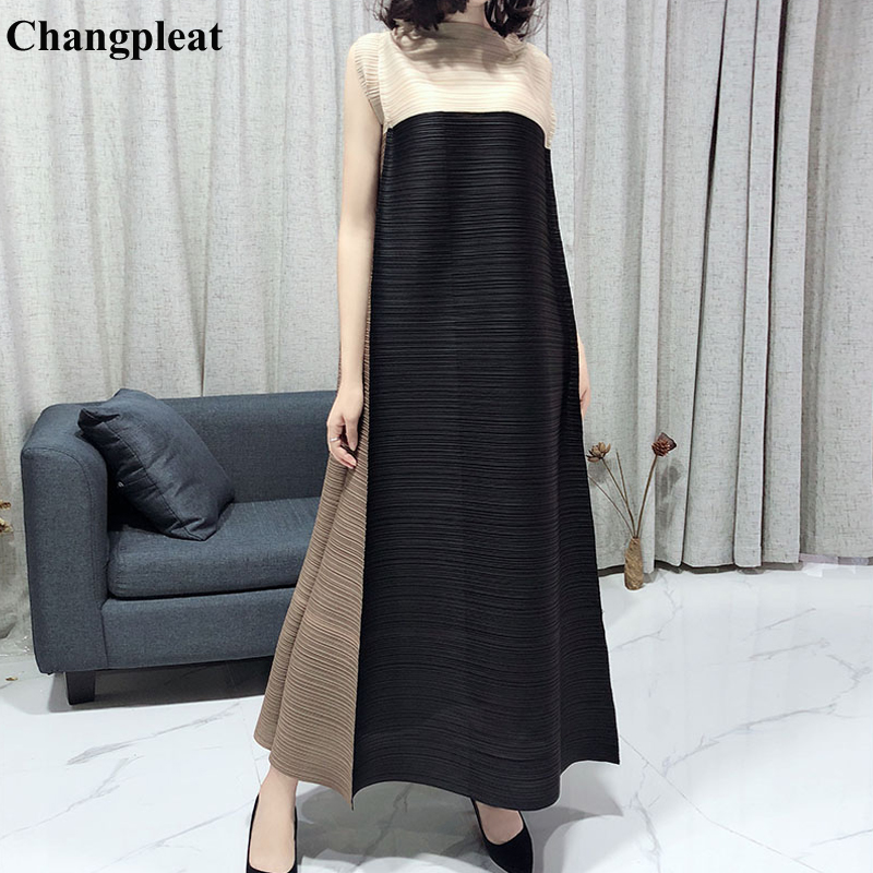 Changpleat 2019 Spring Summer Loose Sleeveless Dress Miyak Pleated Fashion Design Stand Collar Large Size Maxi Dresses Tide D909