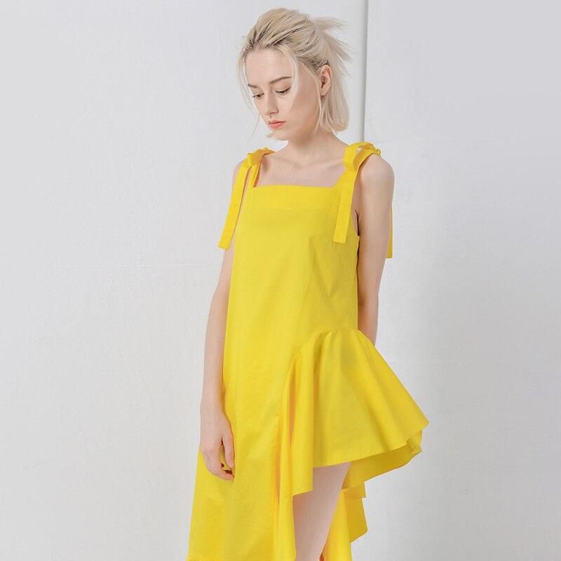 Robe D'été Or 2018 Irrégulière Lace De Off Manches Robes Sexy Ruches Femelle Sans Sangle Mode Jaune Femmes Épaule Up wFOUqA