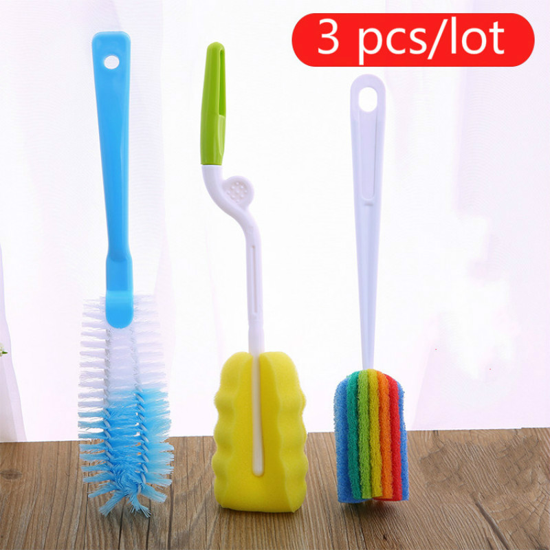 3 Pack Long Handle Cup Brush Sponge Bottle Wash Cup Brush Glass Bottle Cleaner Household Cleaning Artifact