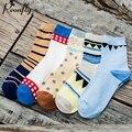 Personality Regular geometry pattern women socks creative Cotton warm socks 5 pairs/lot