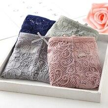 Women Girl Low Waist Lace Bowknot Bandage Underwear Cotton Blend Panties Briefs