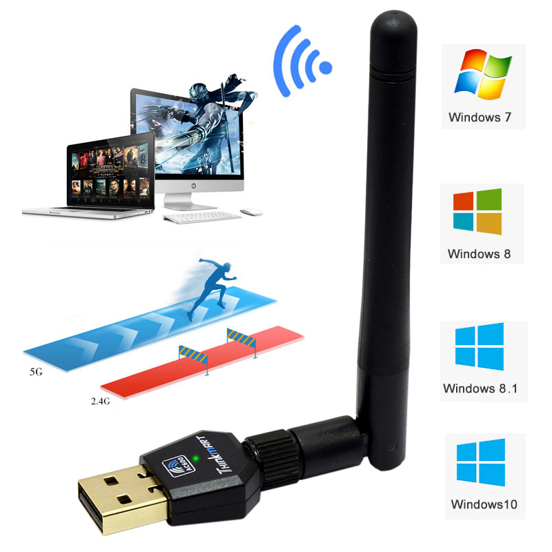 USB Wifi Antenna Adapter Wireless 600M WiFi Network Card 2.4G 5.8GHz Dual Band AC Wifi Antenna Adapter 802.11a/b/g/n