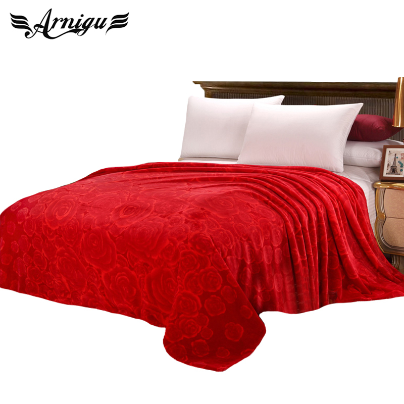 Rose print soft thick Blanket Queen size wedding/Sofa Throw or decorative plaids Red double-layer cloud blankets/warm bed sheet клапан продувки адсорбера 2113 15 дэйкоформ
