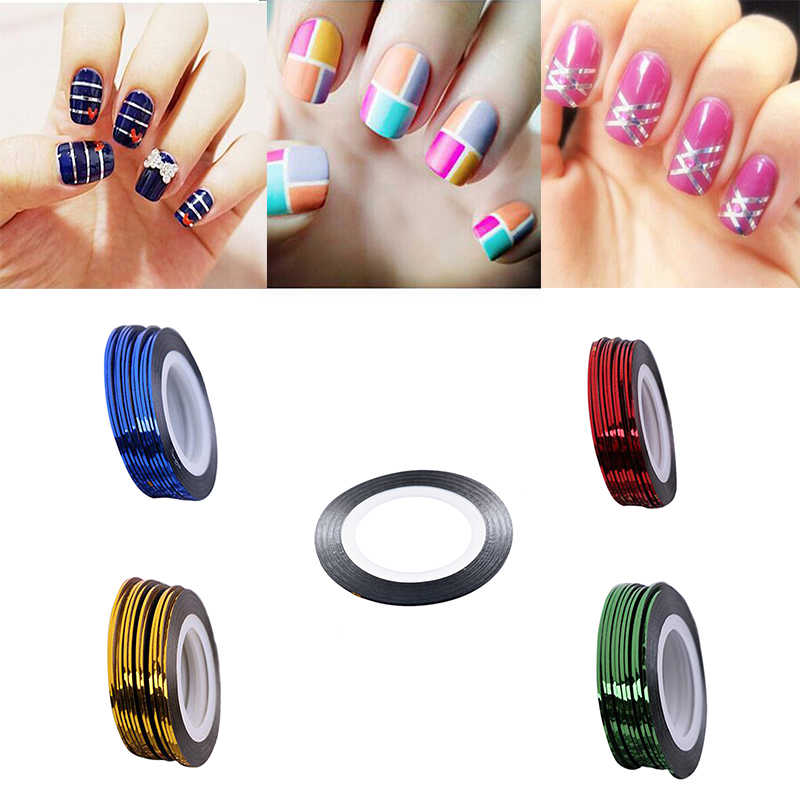 1mm 1 Roll Nail Gereedschap Decoraties Kleurrijke DIY Nails Beauty Rolls Nail Art Stickers Striping Decals Folie Tips Tape line Design