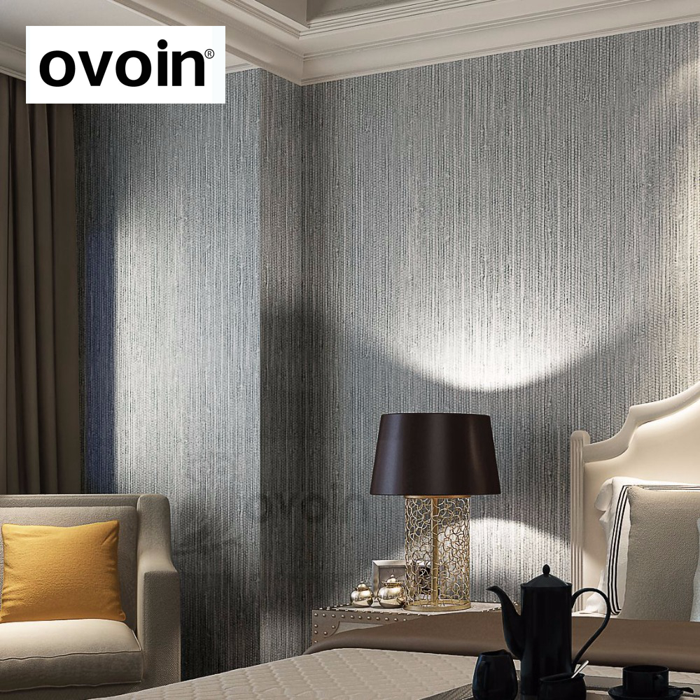 Silver Metallic Vinyl Grasscloth Wallpaper Roll Bedroom