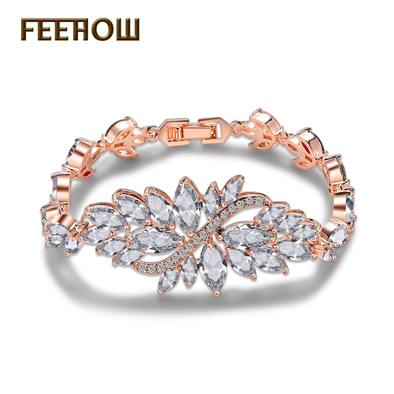 FEEHOW Fashion Marquise Cut Cluster Cubic Zirconia Bracelets & Bangles Clear Flower Bridal Wedding Jewelry for Women FWBP007