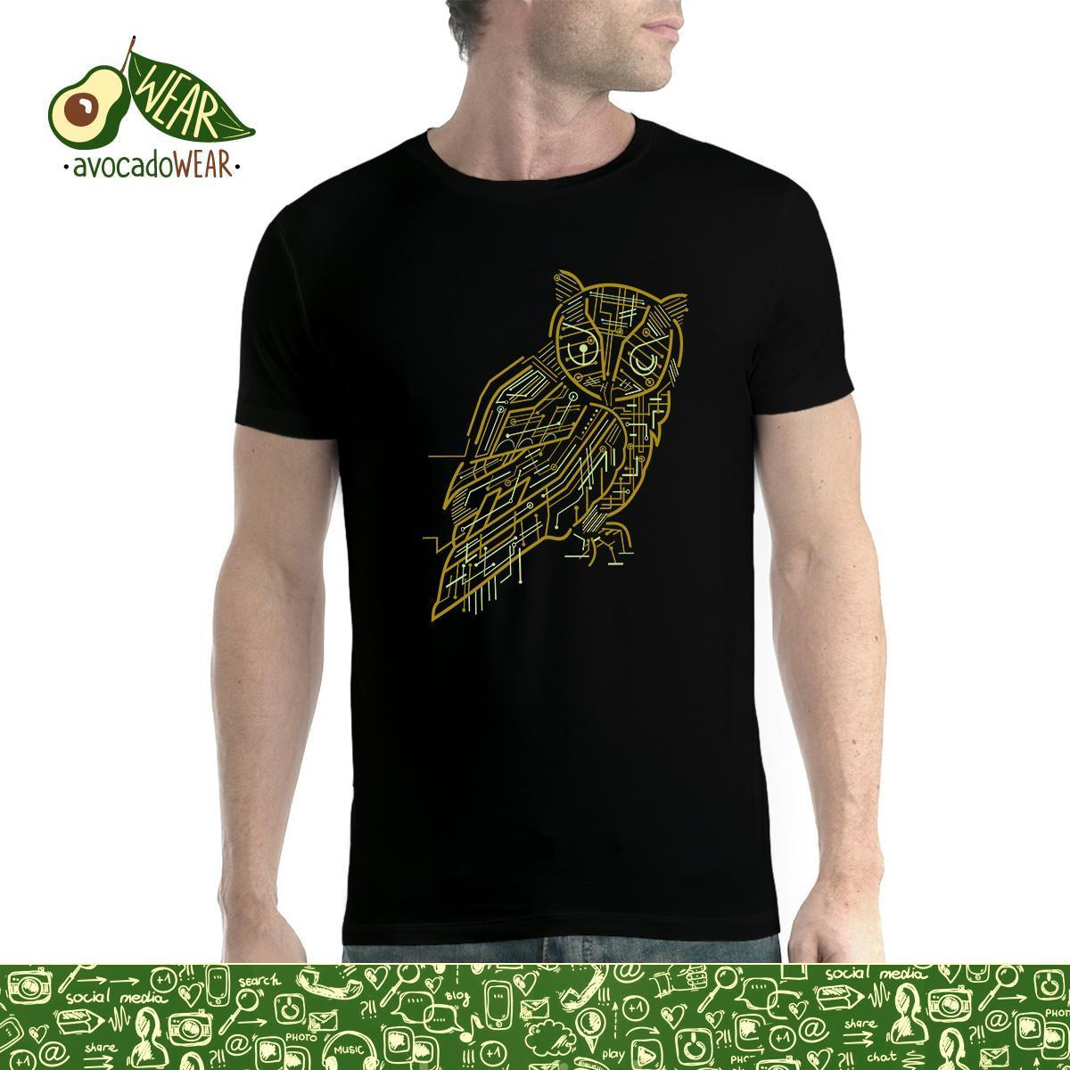Electric Owl Mens T-shirt S-3XLNew T Shirts Funny Tops Tee New Unisex High Quality Casual Printing 100% Cotton
