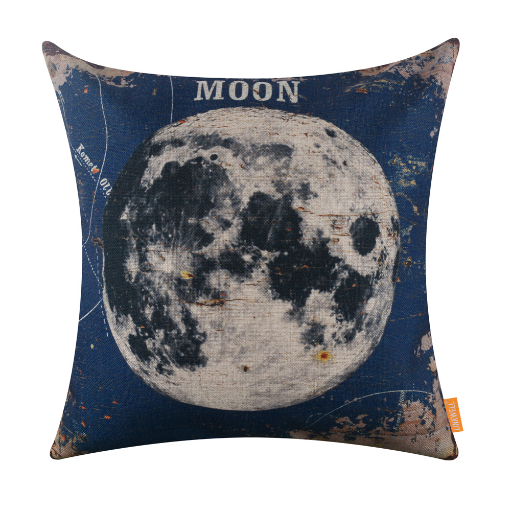 LINKWELL 18x18 inches Pillow Case Burlap Cushion Cover Vintage Blue Moon Planet Brown Blue Natural Satellite