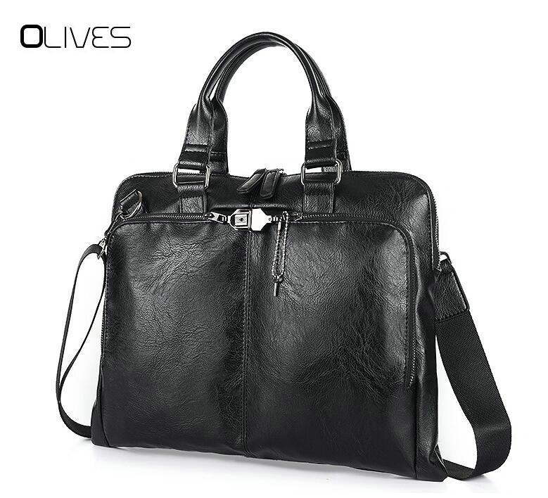 OLIVES Business Briefcase Leather Men Bag Computer Laptop Handbag Man Shoulder Bag Messenger Bags Men's Travel Bags Black Brown