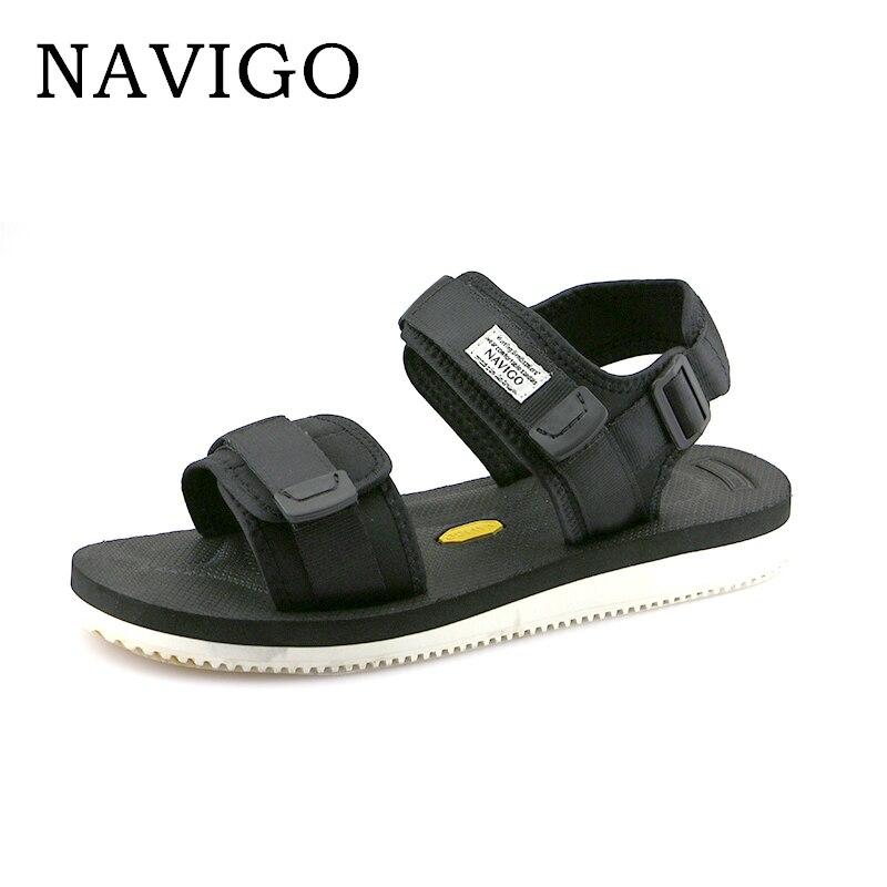 Navigo Summer Men Sandals Shoes 2018 Fashion Black Sandals Men White Botton Breathable Men Casual Shoes Sandals Size 10