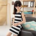 Children Girls' Clothing Black And White Stripes Summer Girl Dress 100% Cotton 3-14 Years Kids Vest Dresses For Teenage Girls