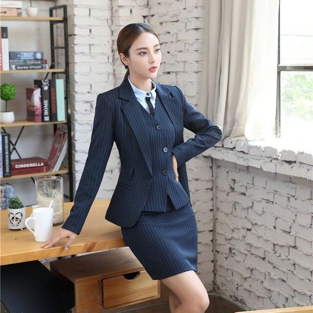 40d52c920b Uniforme Formal estilos Otoño Invierno chaqueta Blazer a rayas trajes con 3  pieza chaquetas y falda