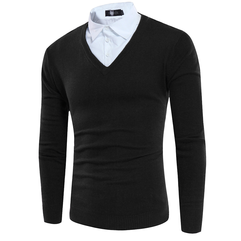 2017 Mens Sweater Male Sweaters Fake Two Pieces Mens Slim Sweaters Casual Knitted Pullovers Men Pullover