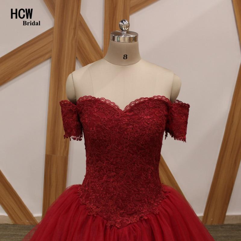 Graceful Burgundy Puffy Evening Dress Båtsnabb Kortärmad Lace Tull - Särskilda tillfällen klänningar - Foto 4