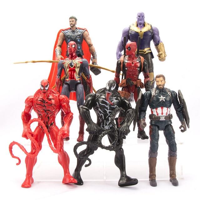 7 pçs/set Titan Herói Thanos 4 Endgame Infinito Guerra Venom Marvel Avengers Thor Deadpool Spiderman Figuras de Ação Brinquedos Para Menino presente