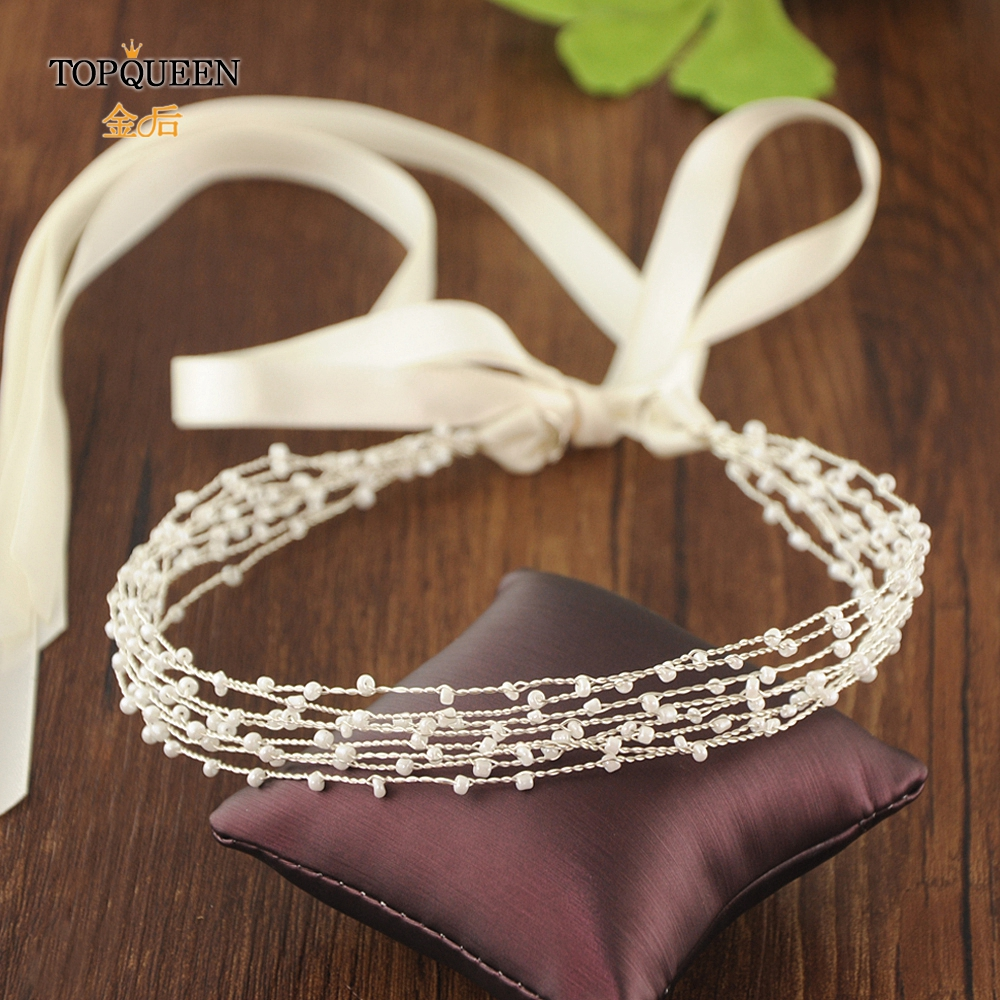 TOPQUEEN Beaded Headbands For Women Designer Bride Hair Accessories Wedding Headpieces Silver Hair Piece Hair Jewelry HP28