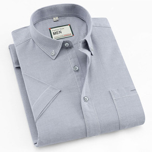 Image 2 - 2019 여름 짧은 소매 100% 코튼 옥스포드 쉬운 관리 일반 맞는 솔리드 스트라이프 격자 무늬 비즈니스 남성 캐주얼 셔츠