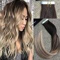 Полный Блеск Бразильский Человеческих Волос Клей в Ленты Волосы Выметания цвет 2 Темно-Коричневый Прозрачный 8 и 613 Блондинка Ломбер волос